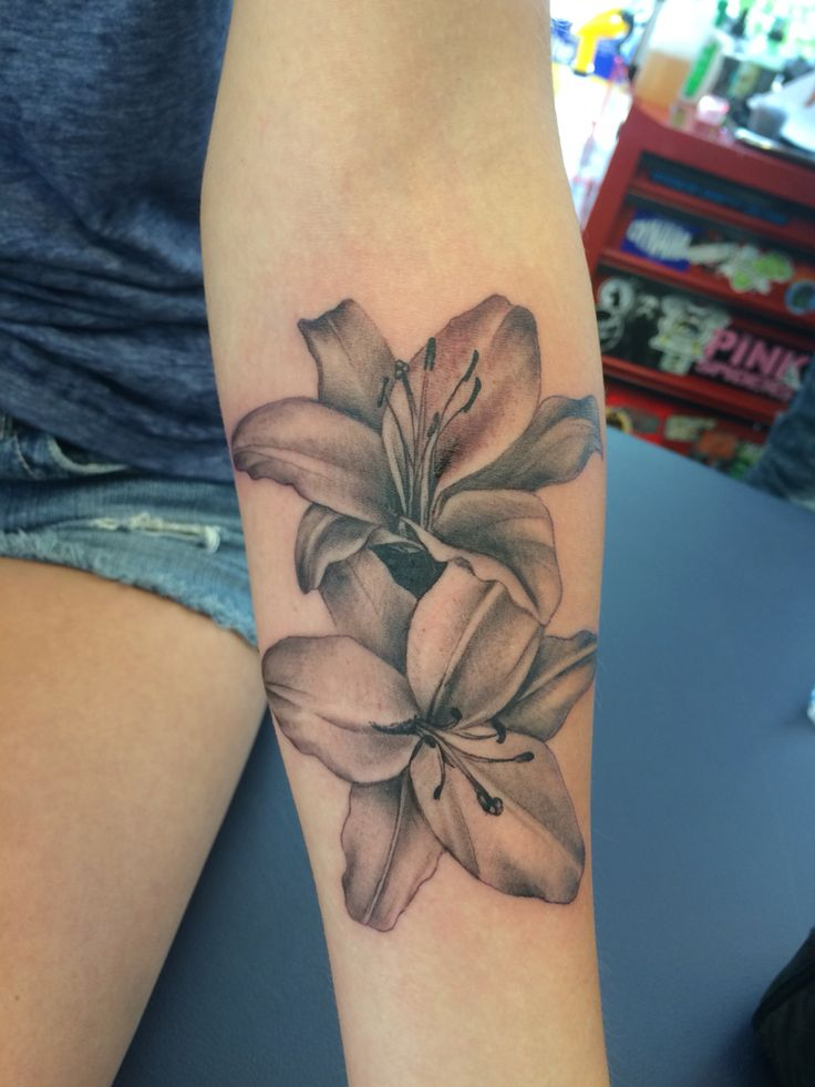 Beautiful lilles lilies black and gray pretty tattoos for girls soft forearm tattoo fore arm