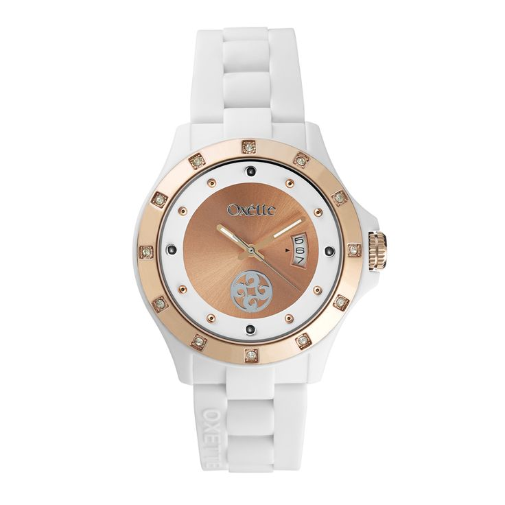 Oxette White Pop Watch - Available here http://www.oxette.gr/rologia/s.steel-rose-gold-plated-pop-white-watch-658l-1/   #oxette #OXETTEtimewear #OXETTEwatch #watches