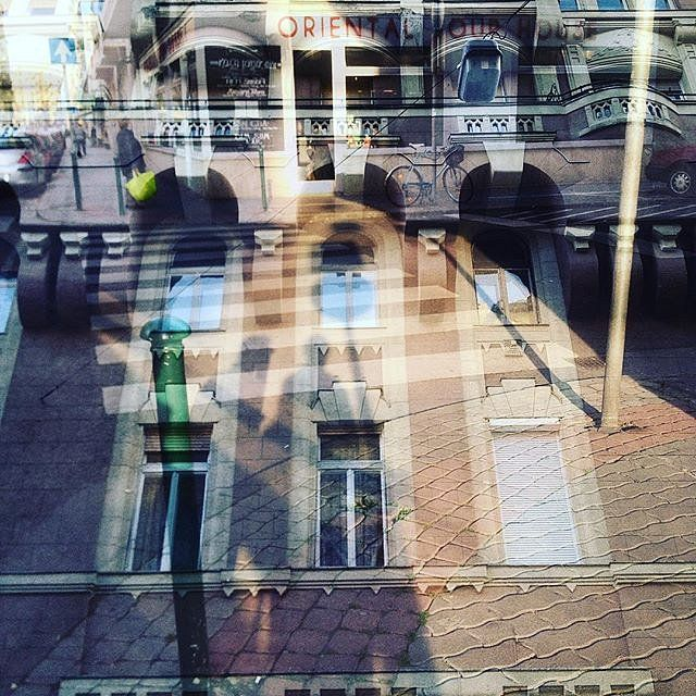 Street scene meets building  double exposure #multiexposure #multipleexposure #Budapest #streetscene #building #windows #shadows #street #dxe #dxp #twocitiesbudapest #craighullphoto #doubleexposeeurope