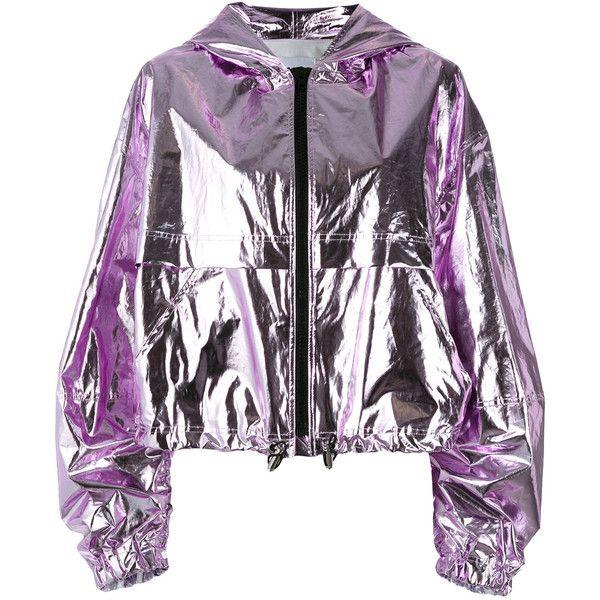 MSGM - hooded jacket - women - Cotton/Polyurethane - 40 ($500) ❤ liked on Polyvore featuring outerwear, jackets, purple, msgm, purple jacket, metallic jackets, white hooded jacket and white jacket