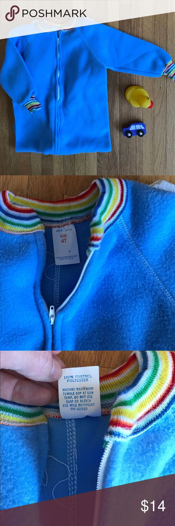 Vintage rainbow footie PJ onesie Vintage rainbow footie PJ onesie of the softest possible material. Made in the USA and the footies are a heavier duty material than they're made of now. One stain on the left arm- see photo. Otherwise in wonderful condition! Vintage Pajamas