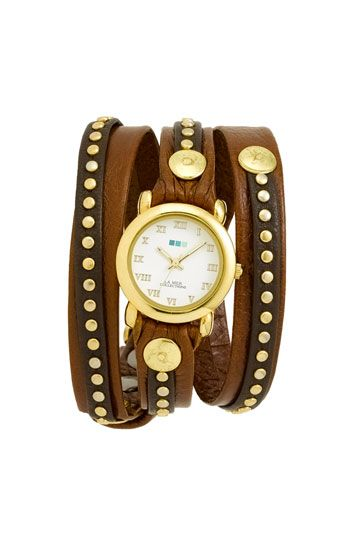 Nordstrom's Gold Studded Leather Wrap Watch