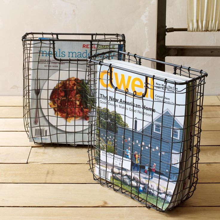 wire weave magazine basket organize me pinterest. Black Bedroom Furniture Sets. Home Design Ideas