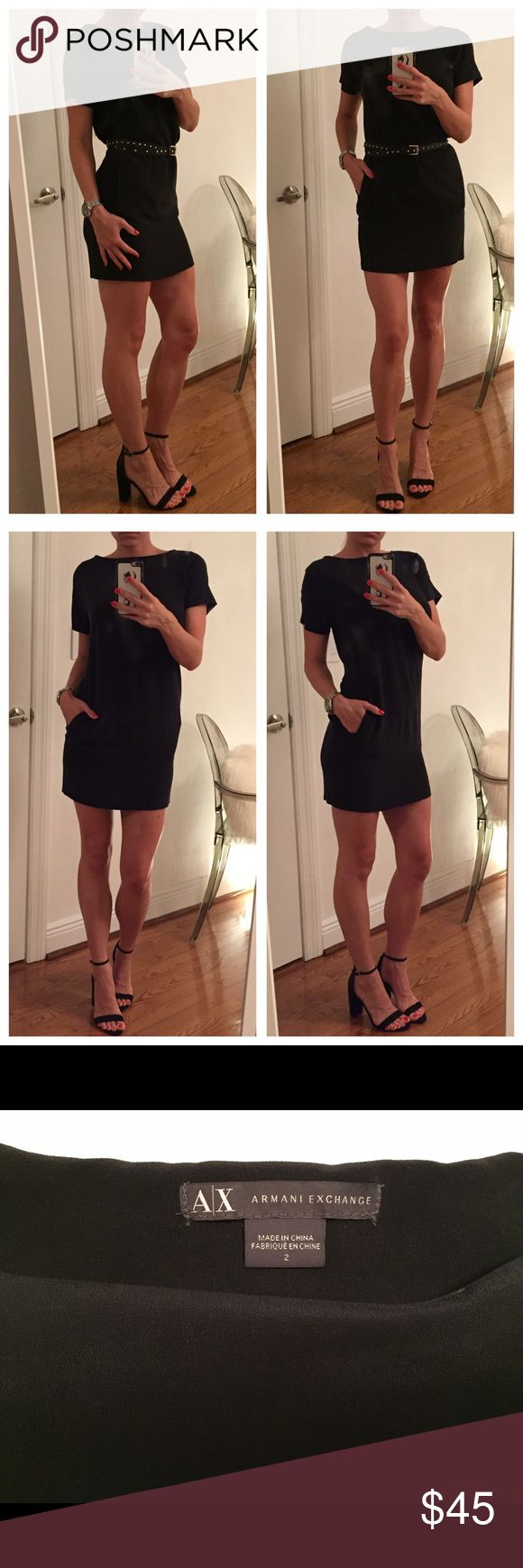 Armani Exchange Black Dress This gorgeous black dress from Armani Exchange is a size 2. Has 2 pockets on the side. Can be worn with a belt or not. Great dress for heels, sandals or flats. Super comfy and only worn once. A/X Armani Exchange Dresses