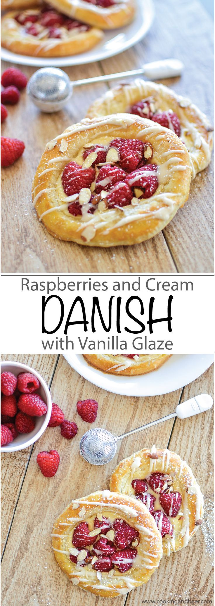 Raspberries and Cream Danish with Vanilla Glaze is the perfect sweet treat for Easter brunch! | www.cookingandbeer.com