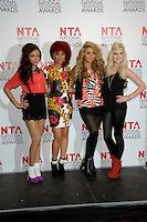 Little Mix of X Factor (L-R: Leigh-Ann Pinnock, Jade Thirlwall, Jesy Nelson & Perrie Edwards).at the National TV Awards 2012 at the O2 Arena, London, England, UK,.25th January 2012..NTA NTAs press room full length girl band winners poppy leopard print dress sequined sequin shiny collar red top braces tights leggings shorts mini skirt wedges ankle boots socks .CAP/PL.©Phil Loftus/Capital Pictures.