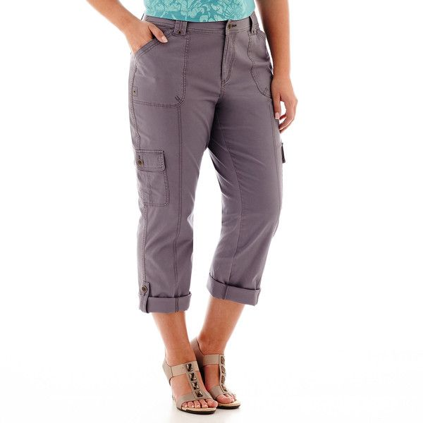 St. John's Bay Convertible Cargo Pants - Plus Gray ($25) ❤ liked on Polyvore featuring plus size fashion, plus size clothing, plus size pants, plus size, convertible cargo pants, womens plus size cargo pants, zipper cargo pants and plus size cargo pants