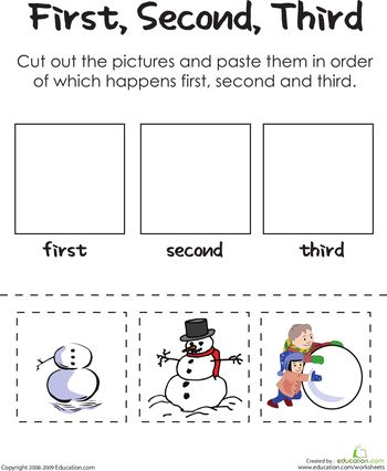 Worksheets: First, Second, Third: Building A Frosty Snowman