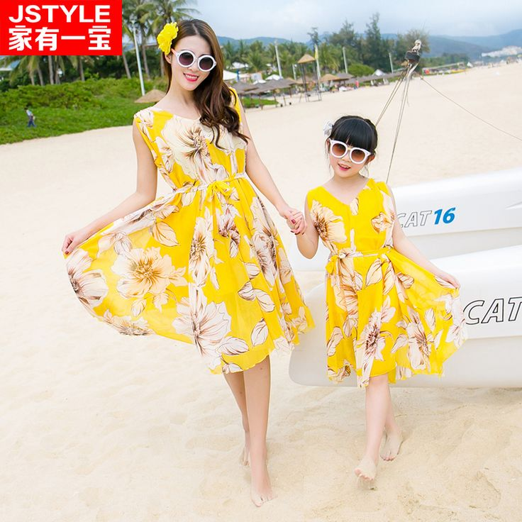 2016 Matching Mother Daughter Yellow Plus Size Dresses Baby Girl and Mother Chiffe Maxi Dress Outfit Ma e Filha Holiday Dresses