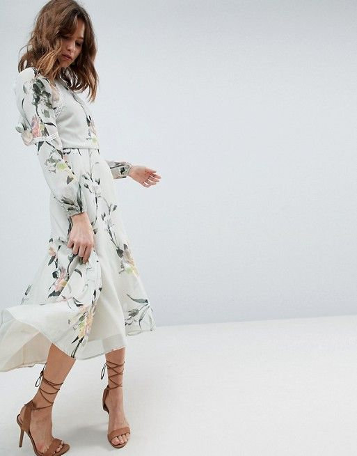 239c77e083163 Hope and Ivy | Hope & Ivy Long Sleeve Printed Dress With Lace Trim And  Ruffle Open Back Detail