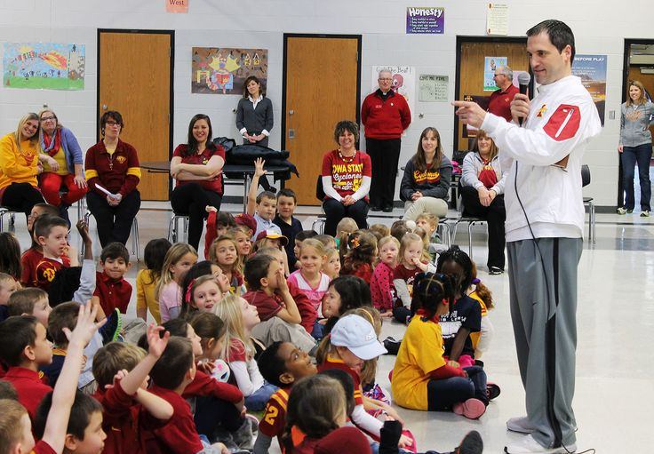 Iowa State men's basketball coach Steve Prohm visited St. Cecilia School on Thursday as part of Catholic Schools Week celebrations. Photo by Sarina Rhinehart/Ames Tribune  http://amestrib.com/news/coach-prohm-pays-surprise-visit-st-cecilia-school
