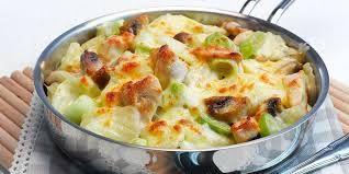 Gratinerte poteter med kylling og sopp