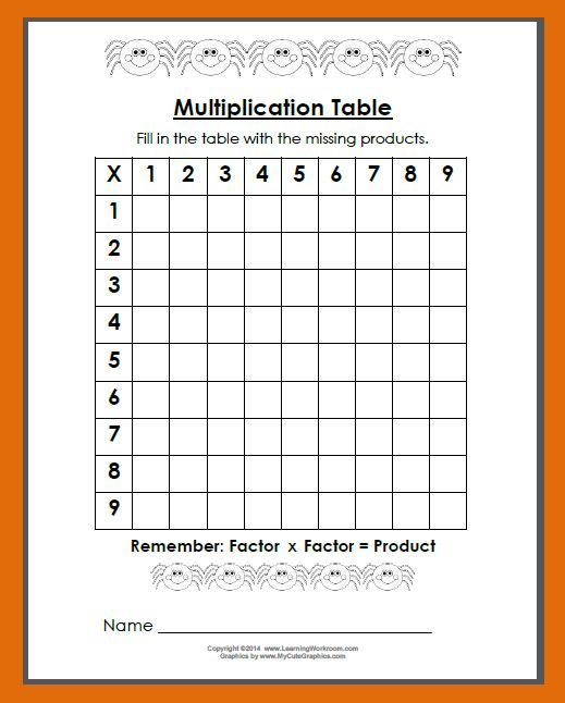 Table Worksheet 0 12 - blank multiplication table 1 15 printable ...
