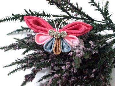Handmade Kanzashii Butterfly - Vintage Pink