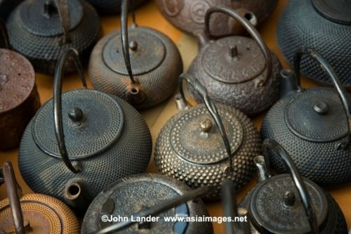 Vintage Japanese cast iron tea pots Kyoto flea market