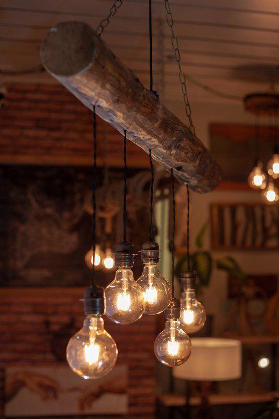 Reclaimed Farmhouse Lighting Fixture Chandelier Live Edge Pergolaorarbor Bauernhaus Beleuchtung Hangeleuchte Leuchten Fur Die Kuche