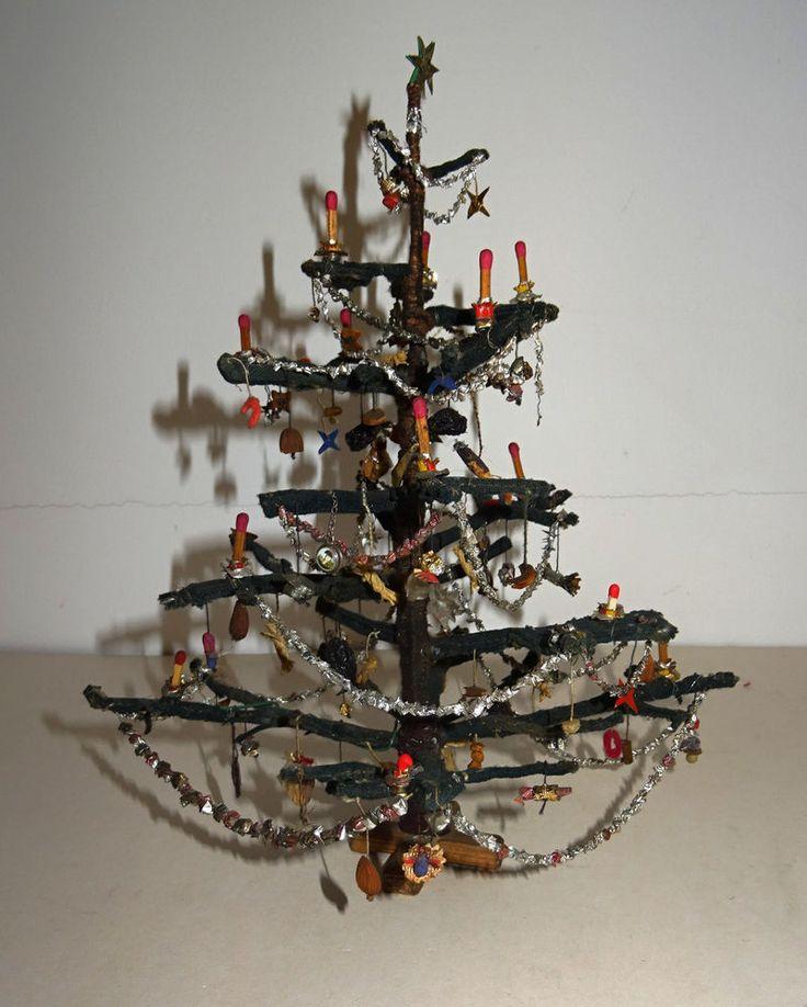 Vintage Weihnachtsbaum Puppenstube Haus um 1900 Christmas tree Weihnachtsschmuck