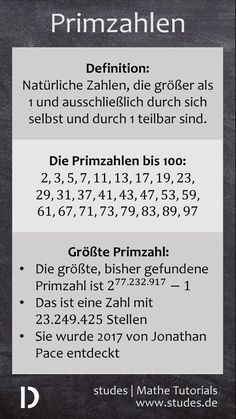 Primzahlen: Was ist eine Primzahl? / Primzahlen bis 100 / Die größte Primzahl