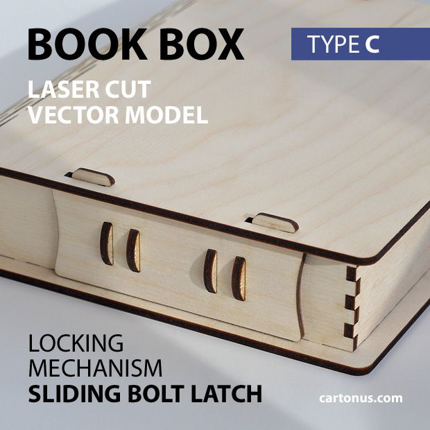 Wooden book box with sliding bolt latch. Laser cut vector model. Project plan for laser cutting. Photo with description. Type C