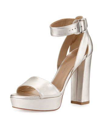Mostly Platform Leather Sandal, Pearl by Stuart Weitzman at Neiman Marcus.