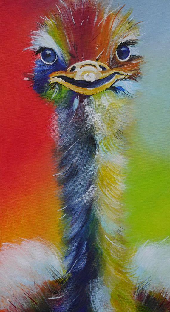 Een kleurrijke boeket vogel met geschilderd ingewikkeld veren, in kleurrijke en krachtige kleuren die overeenkomen met de vitaliteit en energie. Een afbeelding met een buitengewone stimulans, hilarische en interessante op hetzelfde moment. Mijn favoriete dieren in de wereld van mijn acryl! Canvas / Gallery frame 30 x 90 cm, diepte van doek, 4 cm