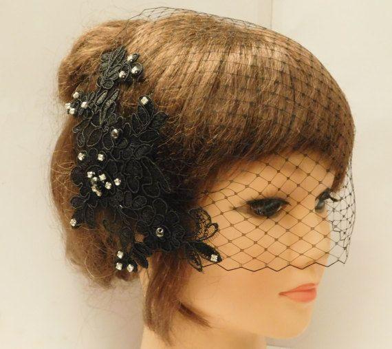 Birdcage veil Wedding  hairpiece BLACK birdcage veil WHITE