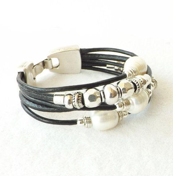 Black Leather Freshwater Pearl Silver Bracelet, Sundance Style Best Seller, Custom Boho Leather Cuff, Southwestern Jewelry, Gift for Her – Wrist Twist