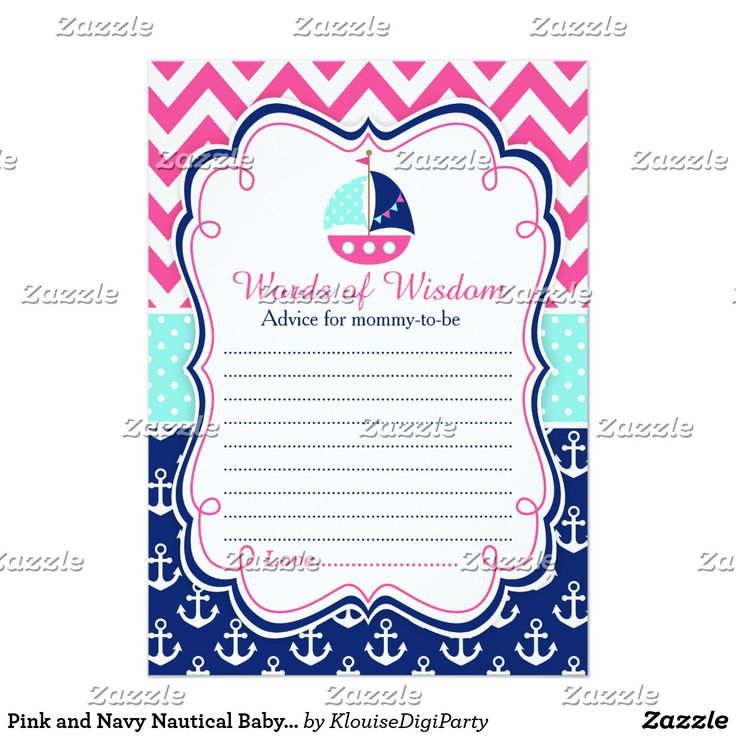 Pink and Navy Nautical Baby Shower Words of Wisdom Card