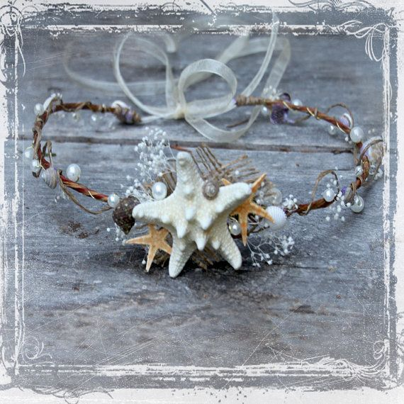 Mermaid Head Wreath - Wedding Halo - Seashell Crown Accessories - Weddings, Festival, Beach - Flower Girl, Bridal - Starfish