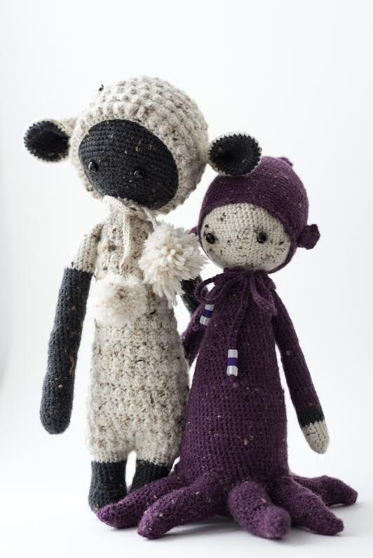 LUPO the lamb and OLEG the octopus made by Suan / crochet patterns by lalylala