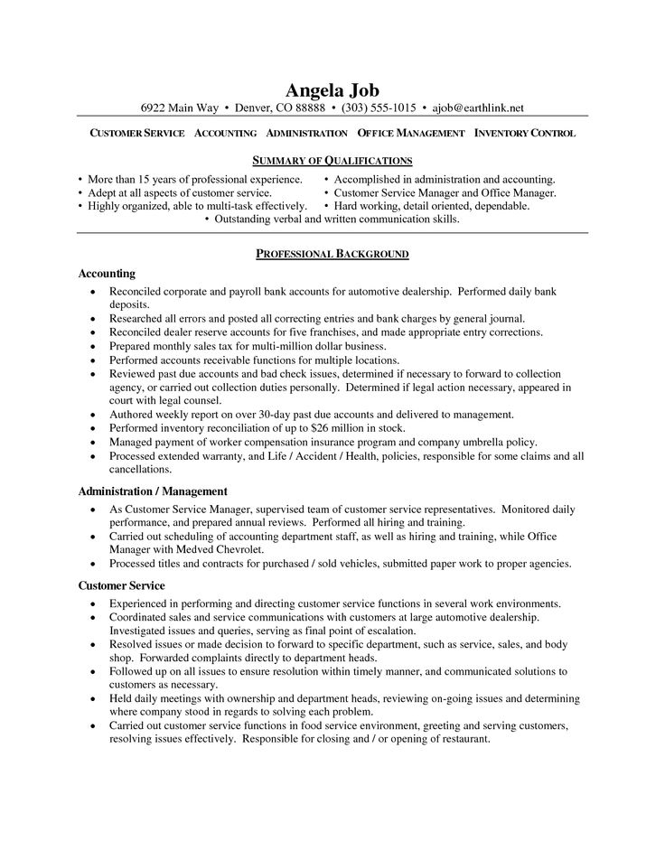 16 best Resume images on Pinterest Resume examples, Sample - sample resume of a customer service representative