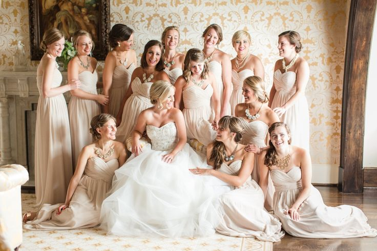 A Bride and her Maids. An Elegant Country Estate Wedding at Dover Hall. Large Bridal Party
