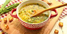 Грибной суп-лапша на курином бульоне