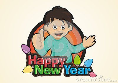 2017 Happy New Year kid boy with colors lamps and happy new year font