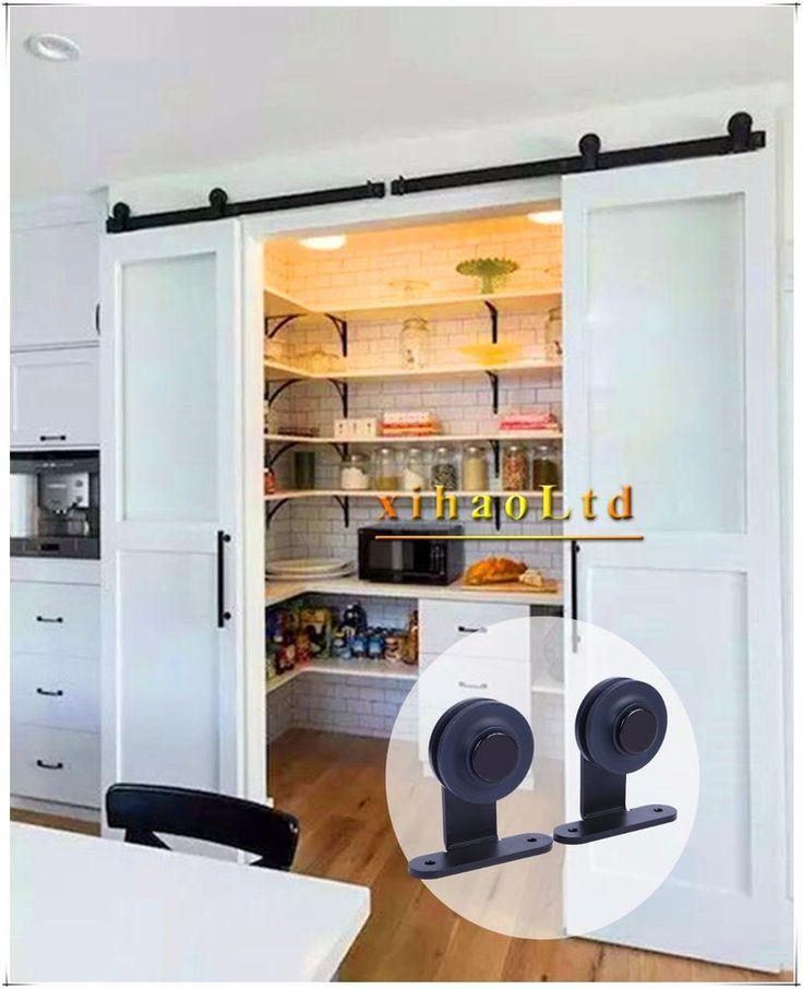 "5FT Closing Sliding Barn Door Hardware Closet Track ""T"" Style For Double Door #C…"