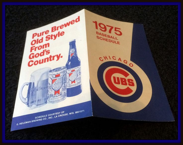 1975 CHICAGO CUBS OLD STYLE BEER 3 X 5 INCH BASEBALL SCHEDULE FREE SHIPPING #Pocket