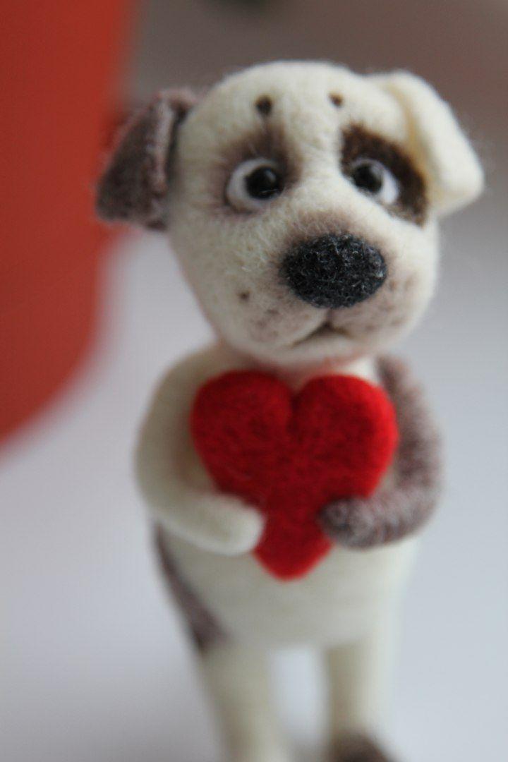 Валяние из шерсти | FELTING | Сундук с шерстью. Dog with heart. #felteddog