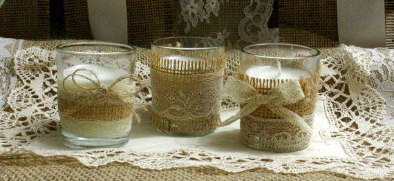 Vintage pizzo avorio nozze tè candele decorazioni di Bannerbanquet