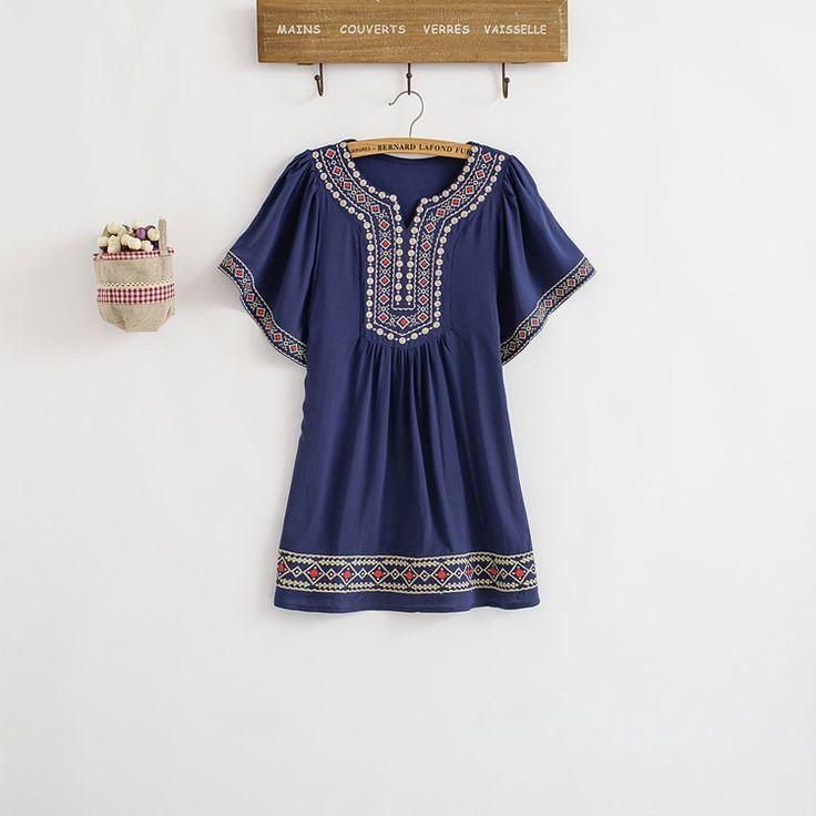 Весна 2015 женщины блузка старинные цветок вышивка BOHO хиппи рубашка женщины блузки хлопок Blusas летний топ платье бесплатная доставка купить на AliExpress