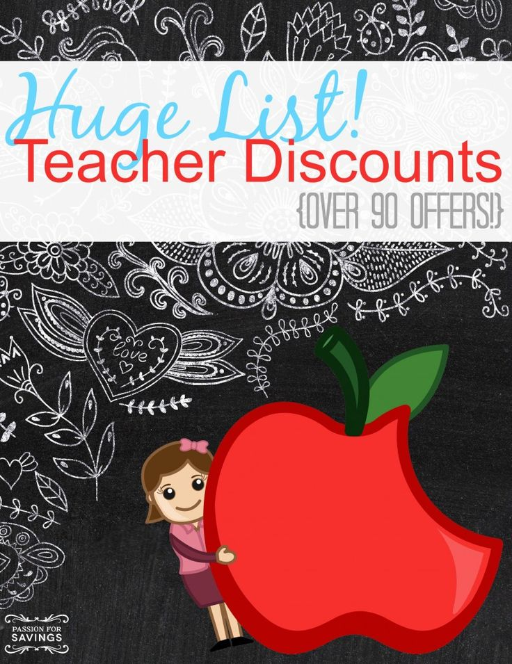 Here is a HUGE List of Discounts for Teachers that are available for 2014! There are over 90 offers available that you will want to take advantage of!