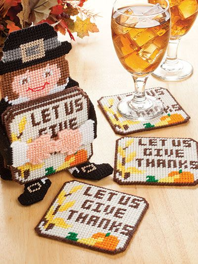 Holiday Character Coaster Sets for Thanksgiving in plastic canvas patterns