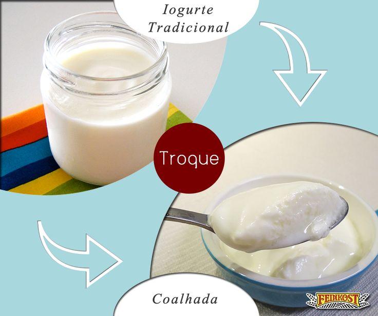 Troque o iogurte pela coalhada: porque a coalhada tem cerca de 2x mais proteínas que os iogurtes tradicionais. #Feinkost #TrocaSaudável #Coalhada