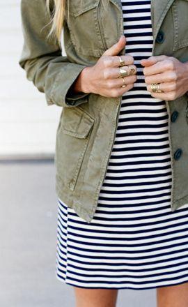 30 Ways to Wear a Utility Jacket // striped dress + utility jacket