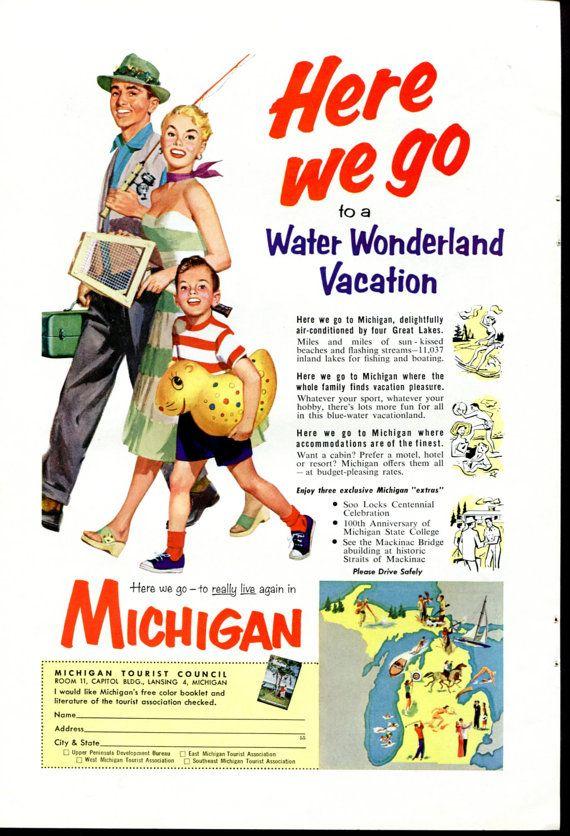 Vintage Michigan Travel Ad  Michigan Water by SkippiDiddlePaper, $9.00