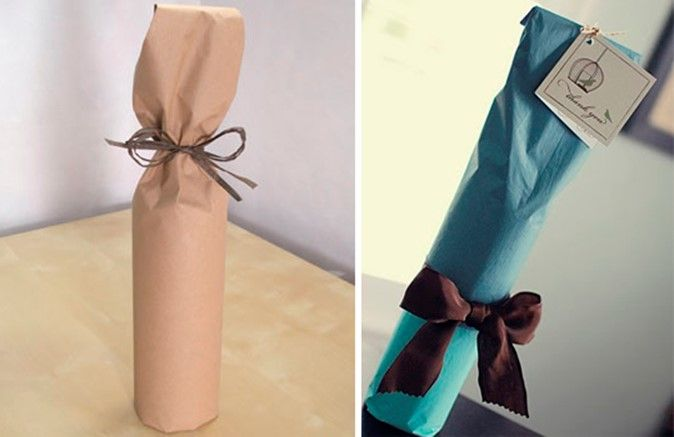 One of the simplest options — wrap the bottle in a sheet of brown paper and tie with a ribbon. How to DIY gift wrapping: Ideas and Tips