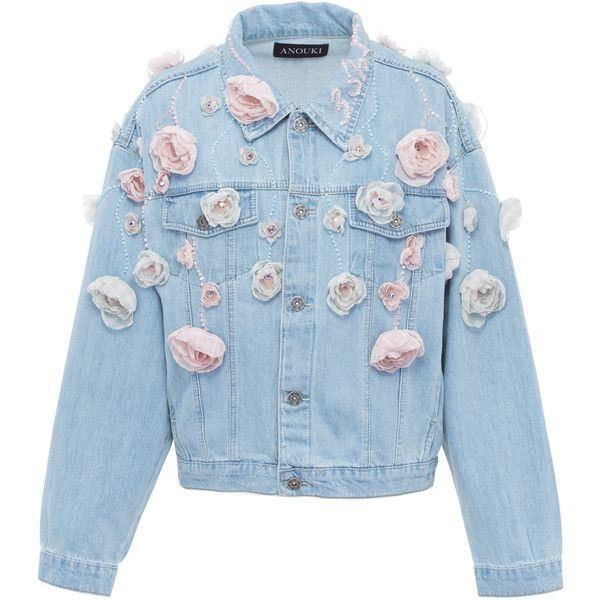 Anouki Floral Denim Jacket ($1,050) ❤ liked on Polyvore featuring outerwear, jackets, coats, tops, blue, floral print jacket, flower print jacket, jean jacket, floral jackets and blue floral jacket