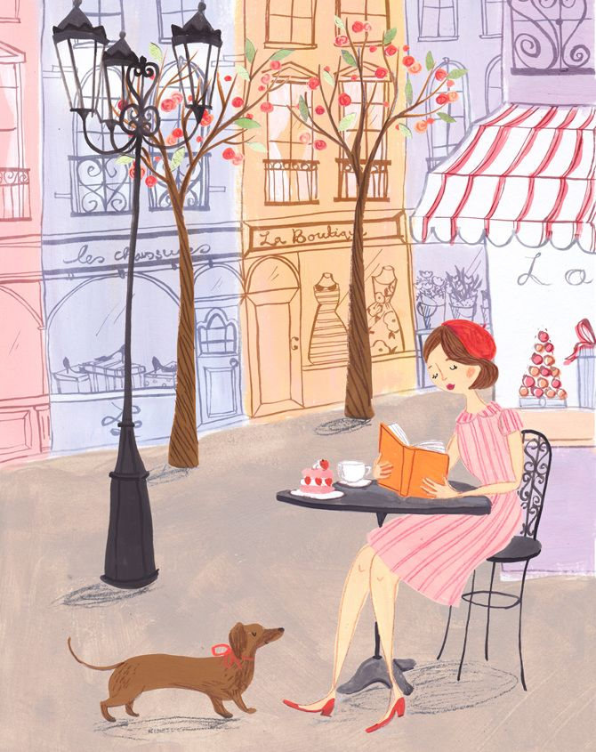 A book and a weiner dog...what more could you want? reading a book / Emma Block Illustration