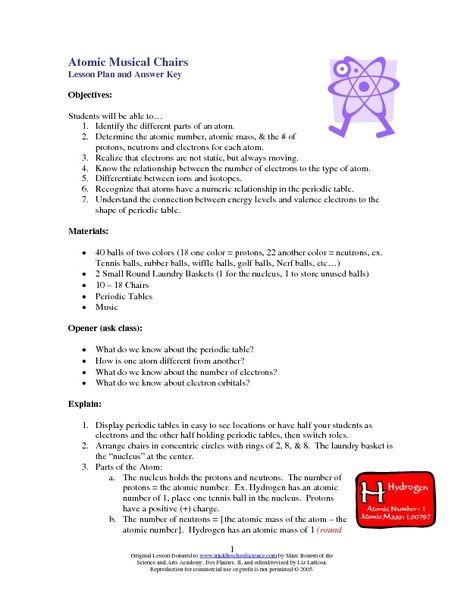 Atom structure lesson plans middle school