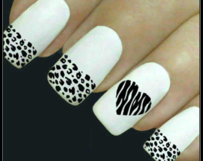 Animal Nail Decal Leopard Nail Art 20 Water Slide Decals Fingernail Decals Nail Tattoos Nail Transfers