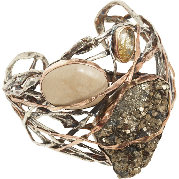 Cuff |  Sandra Dini.   12k gold and silver cuff with lava stone, pyrite and rutilated quartz: Dini Jewelry, Lava Stones, Organizations Cuffs, 12K Gold, Dini Organizations, Jewelry Shops, Sandra Dini, Dini Cuffs, Silver Cuffs